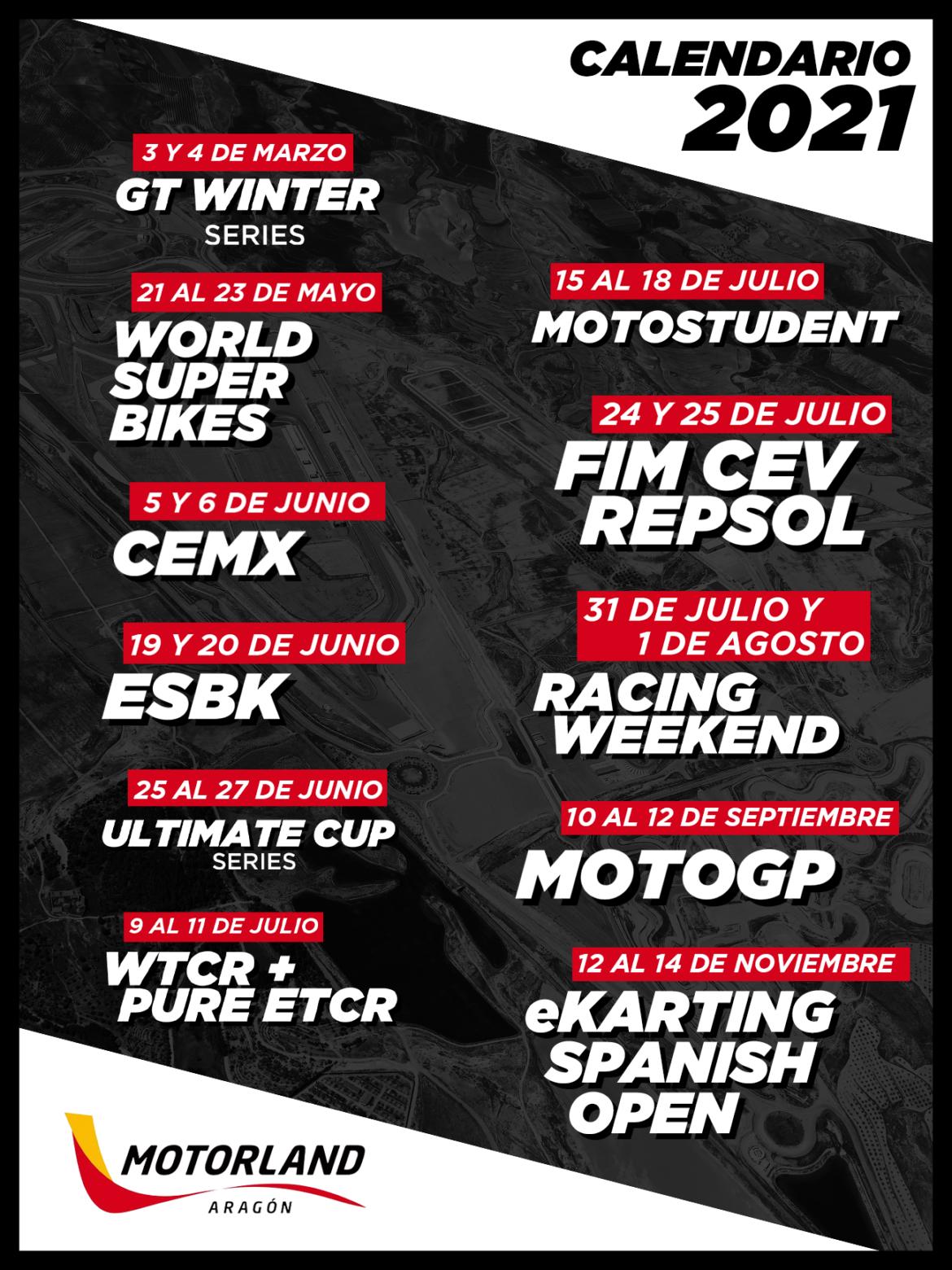 Motorland Aragón calendario 2021